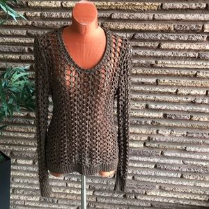 Lucky Brand Brown Crocheted Loose Weave Sweater L